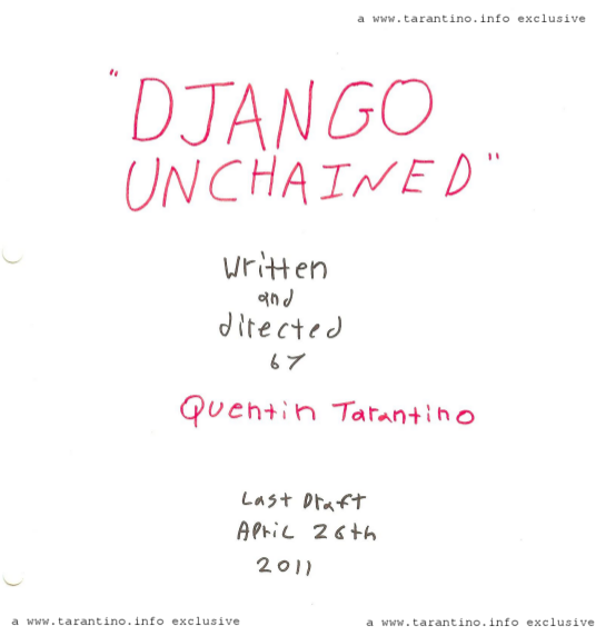 Django Unchained script cover
